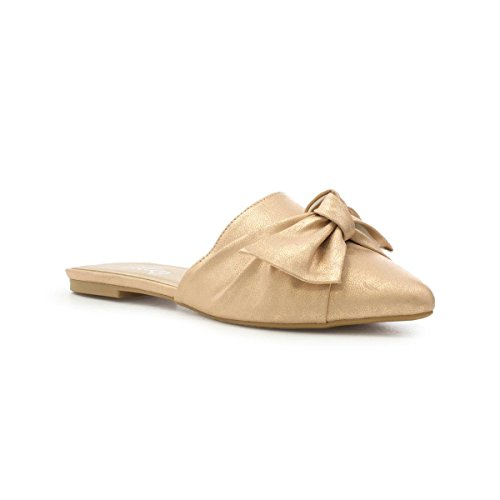 Lilley Womens Rose Gold Knotted Bow Pointed Mule Multicolour