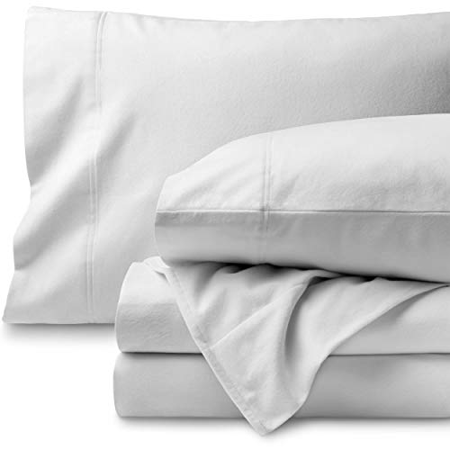 Bare Home Flannel Sheet Set 100% Cotton, Velvety Soft Heavyweight - Double Brushed Flannel - Deep Pocket (Twin XL, White)
