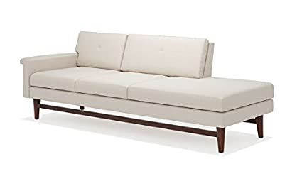 Superbe TrueModern Diggity One Arm Fabric Sofa With Chaise, Walnut Finish, Right  Facing, 94u0026quot