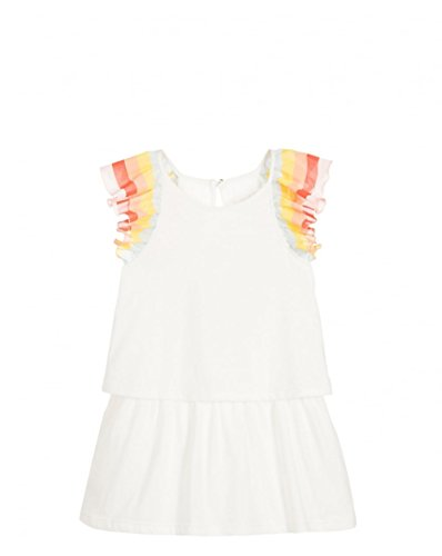 Chloe Girls' Rainbow Ruffles Dress Little Kid, Off White, 3Y by Chloe