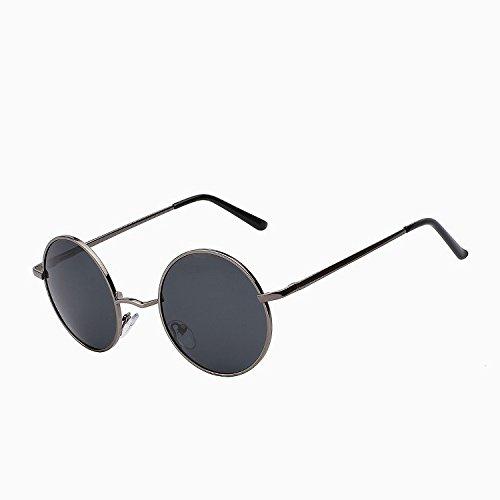black de vuelta Steampunk negro aleación sol pequeño polarizadas de Unisex de Mujer de plata W de estilo redondo UV400 de gafas Hombre verano w grey sol marco gafas TIANLIANG04 Gun vSdqx0C0