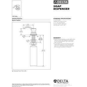 Delta Faucet Soap / Lotion Dispenser and Bottle
