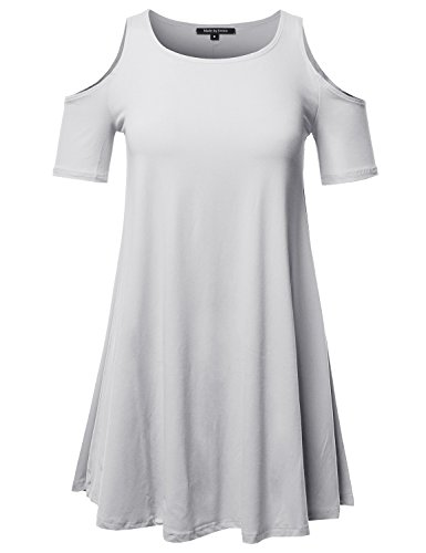 Made by Emma Solid Cold Shoulder Short Sleeves Swing Mini Dress White L (Swing Polyester)
