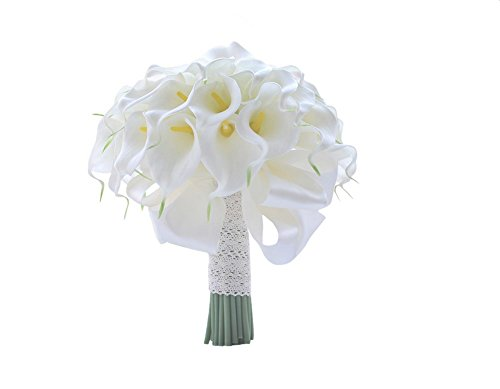18 Calla Lily Bridal Wedding Bouquet 18 head Latex Real Touch PE Flower Bouquets Bridal Wedding Bouquet