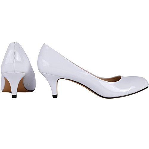 Pumps Zbeibei Mid Slender Court Round Leather Neon Work Toe Heels Women's White 3321 r6Xqzr