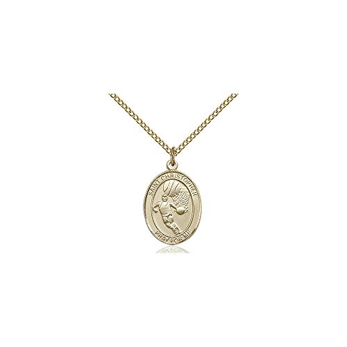 - DiamondJewelryNY Religious Medal, 14kt Gold Filled St. Christopher/Basketball Pendant