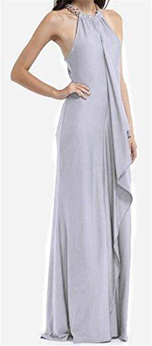 Donne Grigio Cromoncent Irregolare Sleeveless Maxi Splice Halter Allentato Vestito Solido Pgn4qrPB