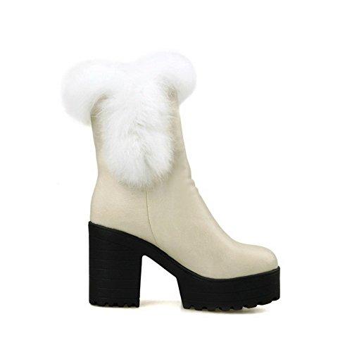 VogueZone009 Damen Ziehen auf Hoher Absatz PU Leder Rein Niedrig-Spitze Stiefel, Cremefarben, 39