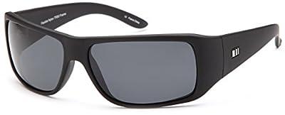 Gamma Ray Stealth Polarized UV400 Flat Black Updated Wrap Sunglasses in Shatterproof Nylon Frame