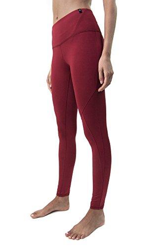 Satva Womens Mid Rise Full Length Tashi Yoga Pants 4 Way Stretch Leggings Tights for Workout Running Sports Soft & Slim Activewear, X-Small, Burgundy