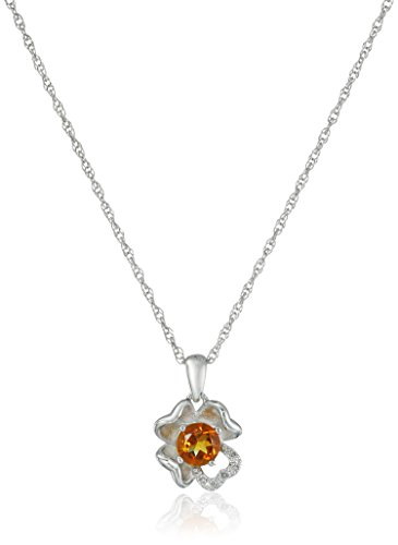 Sterling Silver Citrine and Diamond Accent Flower Pendant Necklace, 18