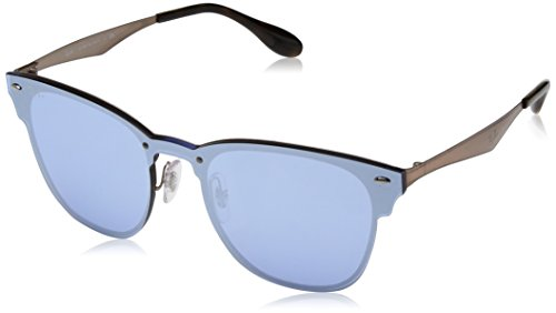 Ray-Ban Kids' Steel Unisex Square Sunglasses, Brushed Gold, 41.03 - Ray Blaze Ban Clubmaster