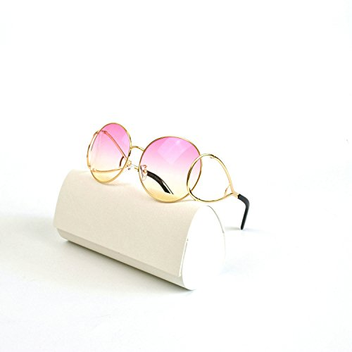 Designer Celebrity Inspired Sunglasses With Box (gold-pinkyellow, gold-pinkyellow) ()