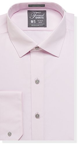 (Luxe Microfiber Mens Regular Fit Solid Dress Shirt, Spread Collar - Style Denny Pink)