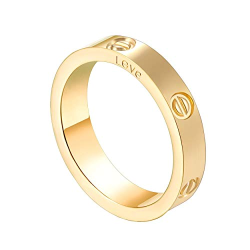 O-HIILILI Gold Love Screw Ring Engagement Wedding Couples Band Titanium Stainless Steel Size 7 by O-HIILILI
