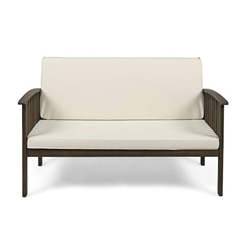 Great Deal Furniture 306039 Grace Outdoor Acacia Wood Loveseat, Gray Finish and Cream