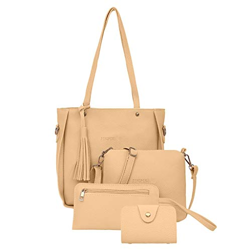 Womola Woman bag 2019 New Fashion Four-Piece Shoulder Bag Messenger Bag Wallet Handbag Crossbody Tote Bag