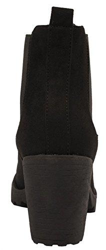 Elara Damen Boots Schwarz Profilsohle Bequeme Queen Gefüttert Stiefel Chelsea Stiefelette Chelsea Plateau qHwBqSn7r