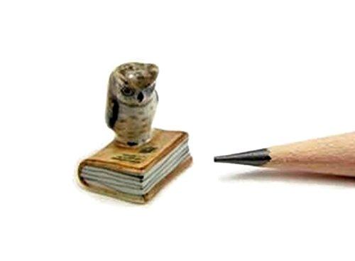 Dollhouse Miniatures Ceramic Mini owl on book FIGURINE Animals Decor