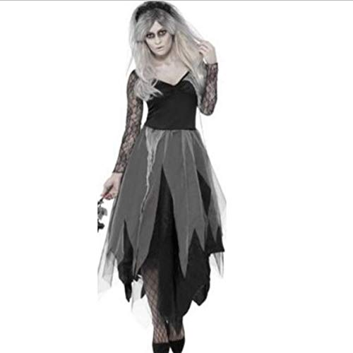 Halloween Ghost Bride Costume, Lady Makeup Dance Vampire Female Zombie Costume Cosplay Uniform,L]()