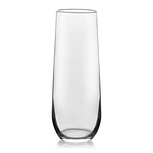 Libbey Stemless Flute Wine Glasses, Set of 12, Clear, 8.5 oz / 251 mL