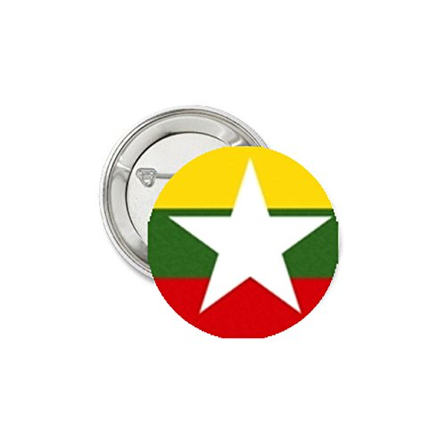 Burma National Country Flag Pinback Button Pin Badge