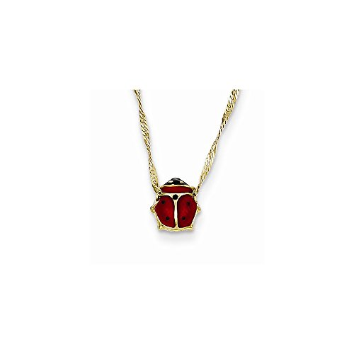 (14k Yellow Gold Red Enameled Ladybug Necklace Chain 16 Inch)