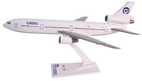 Orbis Flying Eye Hospital DC-10 Airplane Miniature Model Plastic Snap Fit 1:250 Scale Part# ADC-01000I-016