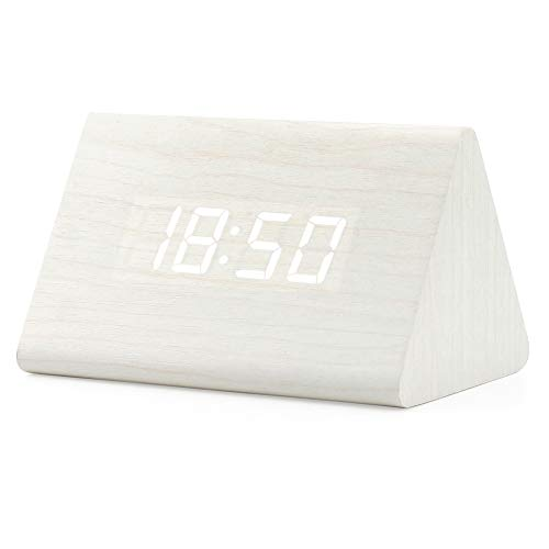 Oct17 Wooden Wood Clock, 2019 New Version LED Alarm Digital Desk Clock 3 Levels Adjustable Brightness, 3 Groups of Alarm Time, Displays Time Date Temperature - White (White Light)