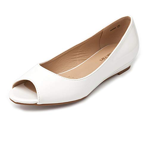 DREAM PAIRS Women's Dories White Pat Low Wedge Peep Toe Flats Shoes Size 7.5 M US