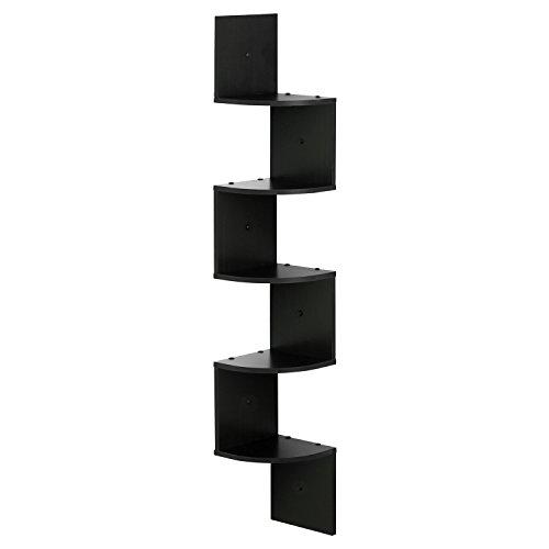 FURINNO FR16122EX Wall Mount Floating Radial Corner Shelf 5-Tier, Espresso