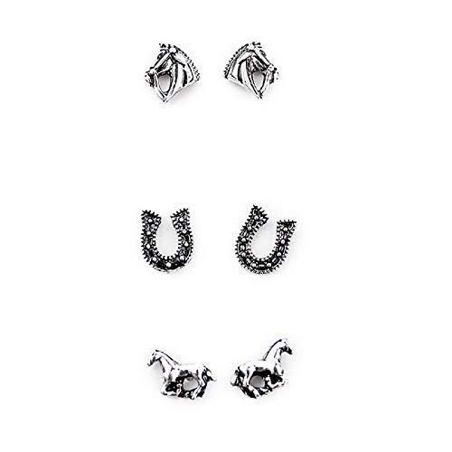 Set of 3 Horse Earrings-Silver ()