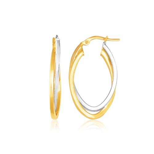 14K Two Tone Gold Double Oval Hoop Earrings Beautiful jewelry for women by Silver Lining Collections LLC