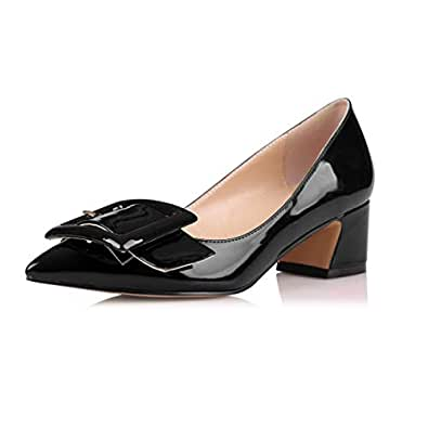 Eldof Pointed Toe Pumps,Classy 2 Inches Block Heel Chic Pumps, Confort Buckle Heel for Office Wedding Dress Black US 6.5