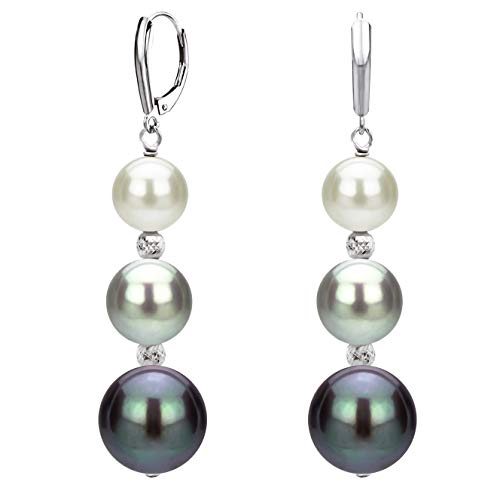 Graduated Freshwater Cultured Multi-colors Pearl and Sparkling Beads Lever-back Earrings in 14k White Gold ()