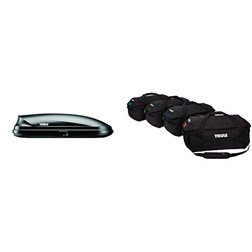 Thule 613 Pulse Cargo Box Alpine , Black,Alpine 11 Cubic Feet with Thule Gopack Duffel Set 4 Pack , Black