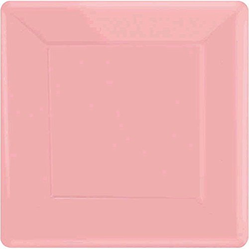 Amscan Party Ready Disposable Square Plates Tableware, New Pink, Paper , 7'', Pack of 20 by Amscan