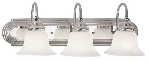 Glass Chrome Alabaster (Livex Lighting 1003-95 Belmont 3-Light Bath Light, Brushed Nickel with Chrome)