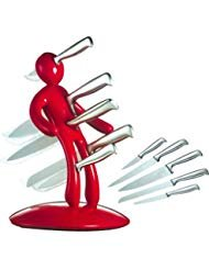 - Make Real Kitchen Stainless Steel 6 Piece Knives Set (5 Knives plus and Acrylic Stand) Name: Men are jerks! (DJTZ-RED)