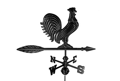 Dalvento 203B Rooster Weathervane Aluminum with Traditional Directionals and Globes, Small Black
