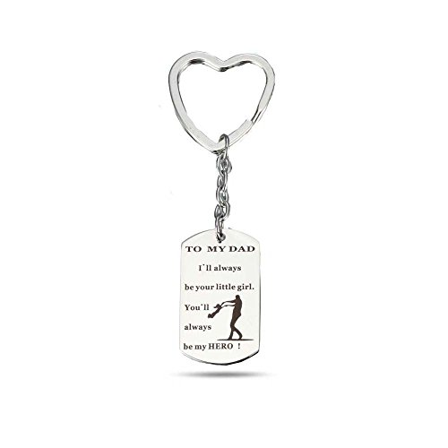 H.ZBRUJ Stainless Steel Keychain Love Between Father Daughter is Forever to My Dad You'll Always Be My Hero(Style A) (A)
