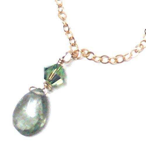 Moss Aquamarine Briolette Dainty Chain Necklace Gold-Filled ()