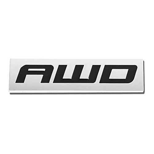 UrMarketOutlet AWD Black/Chrome Aluminum Alloy Auto Trunk Door Fender Bumper Badge Decal Emblem Adhesive Tape Sticker ()
