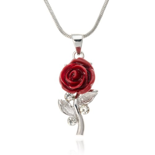 PammyJ Small Single Red Rose Pendant Necklace, 18 inches