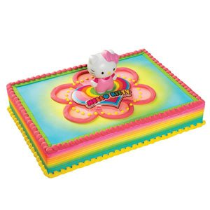 HELLO KITTY Light Up Heart Rainbow Colored Cake Decoration Party Topper Kit (Kits Rainbow Heart)