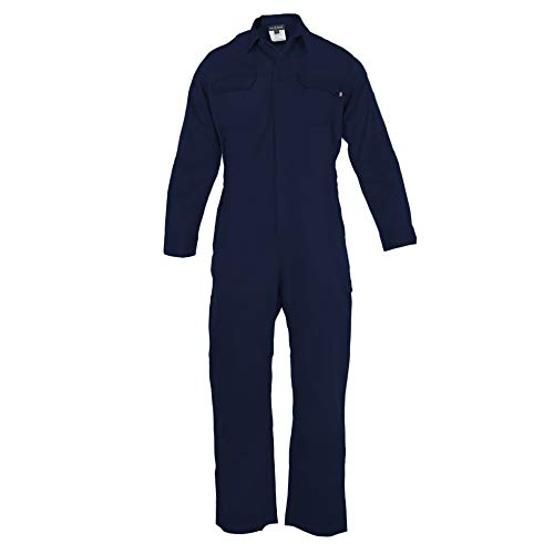 Just In Trend ǀ Flame Resistant FR Coverall - 88% C / 12% Nylon (Small, Navy Blue)