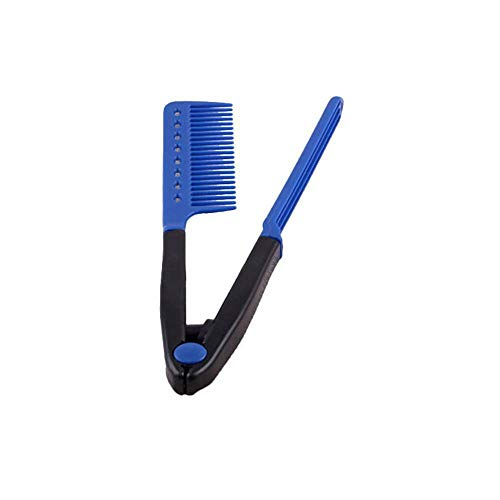 (V Type Folding Hair Straightener Comb DIY Salon Hairdressing Brush Styling Tools (Color - Blue))