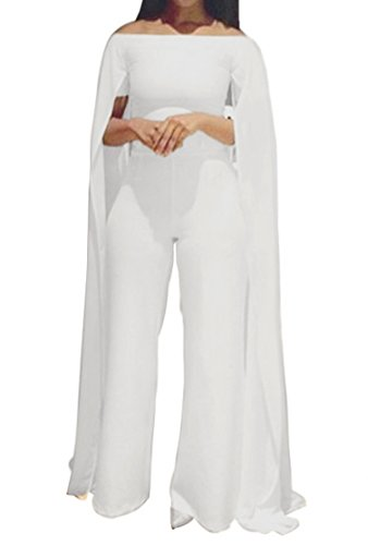 Women Off Shoulder Cloak Cape Clubwear Party Wide Leg Pants Long Jumpsuit Romper (Sexy Pants Suits)