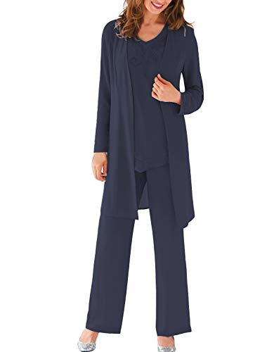 Aesido Women's 3 Pieces Pant Suits Formal Mother of The Bride Dresses Chiffon Long Sleeves Outfit for Wedding Groom 2019(Navy Blue,US16) (Best Mother Of The Groom Dresses 2019)