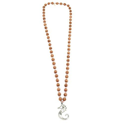 Pearl & Spirit - 16Aby-Col09-Collier Femme-Bois de Rose-Quartz Rose-Hippocampe-Argent 925/1000-T 120 Cm